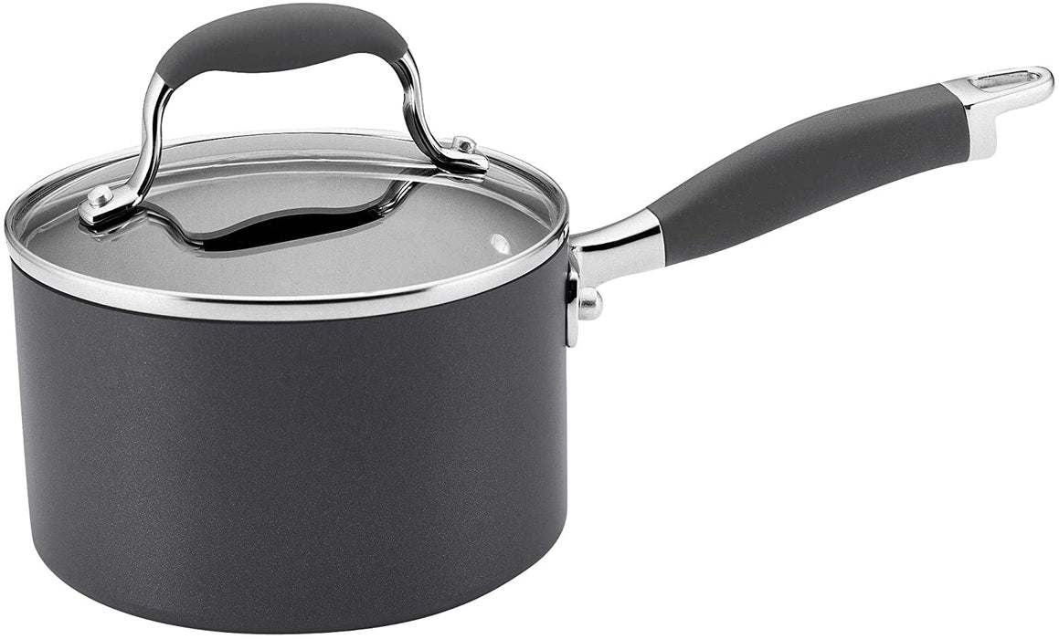 Anolon 81882 Advanced Hard Anodized Nonstick Sauce Pan/Saucepan with Lid, 2 Quart, Gray