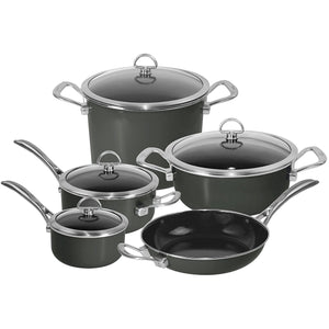 Chantal 9-Piece Copper Fusion Cookware Set-Onyx, Dishwasher safe