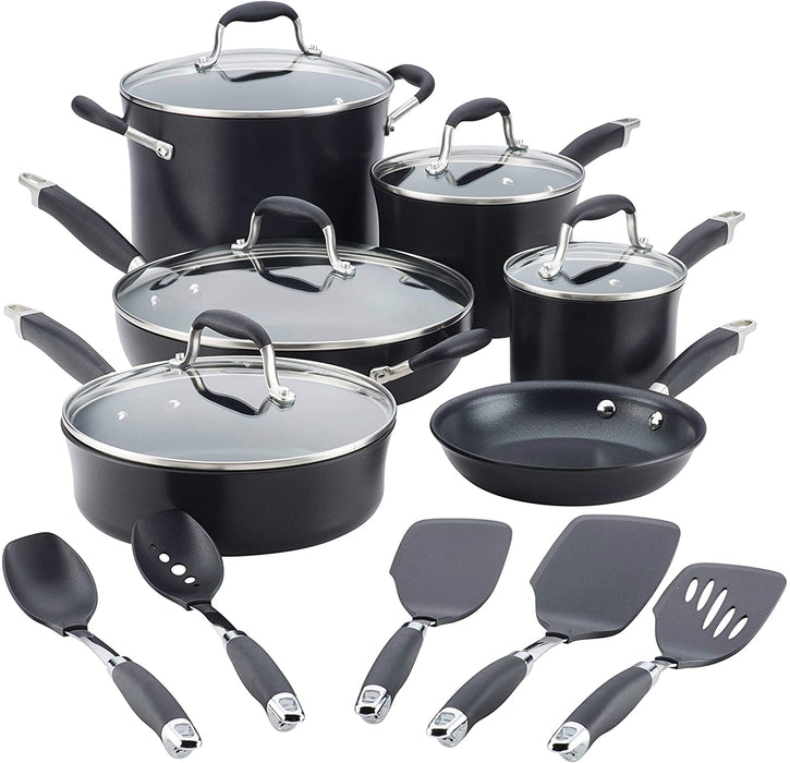 Anolon 84601 Advanced Hard Anodized Nonstick Cookware Pots and Pans Set, 11 Piece, Onyx