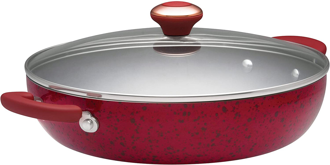 Paula Deen Signature Porcelain Nonstick 12-Inch Covered Chicken Fryer, Red Speckle
