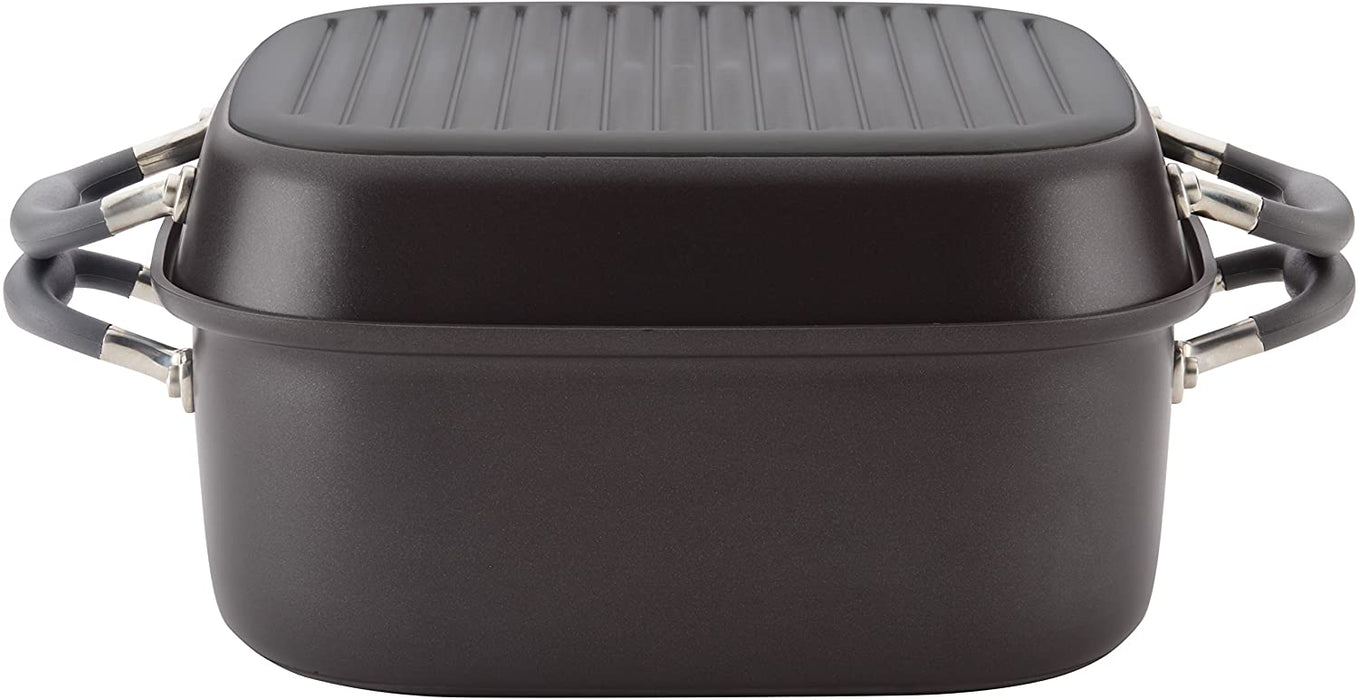 Anolon 83865 Advanced Hard Anodized Nonstick Grill Pan / Griddle and Roaster - 11 Inch, Gray