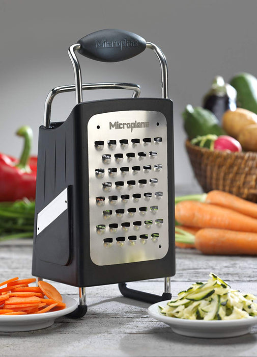 Microplane Box Grater Large 10 inch 4-Sided Stainless Steel Ultra-Sharp Multi-Purpose Grater