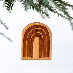 Modern Rainbow Engraved Wooden Christmas Ornament