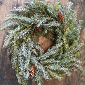 "17"" Frosted White Spruce Wreath"