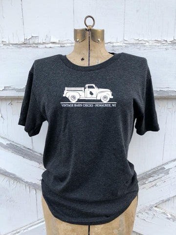 Dark Heather Gray Vintage Barn Chick Truck Logo Tee