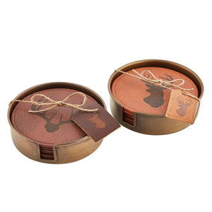 Leather Deer Coaster Set