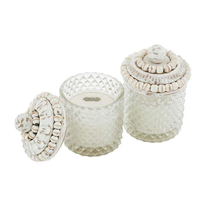 Glass candle with white washed beaded wood lid