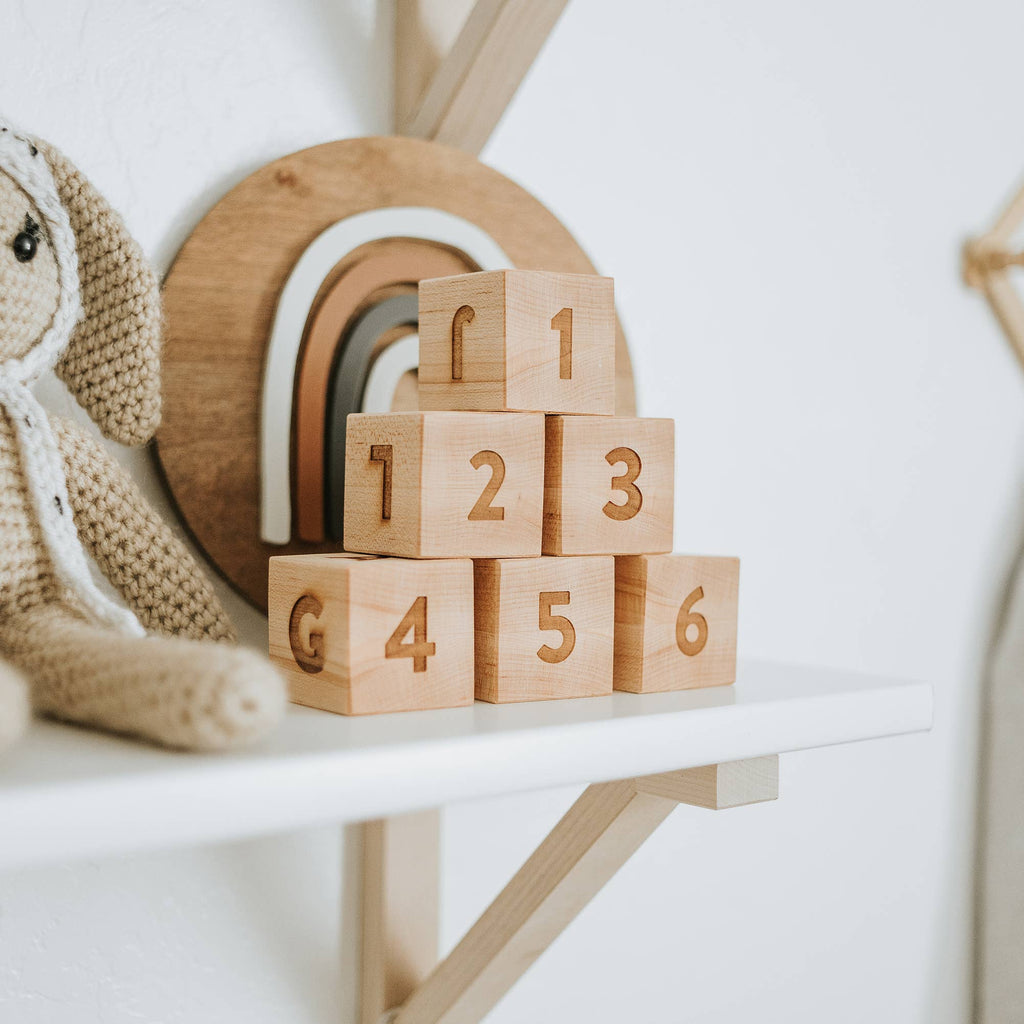 Modern Handmade Wooden Alphabet and Numeral Blocks - Maple