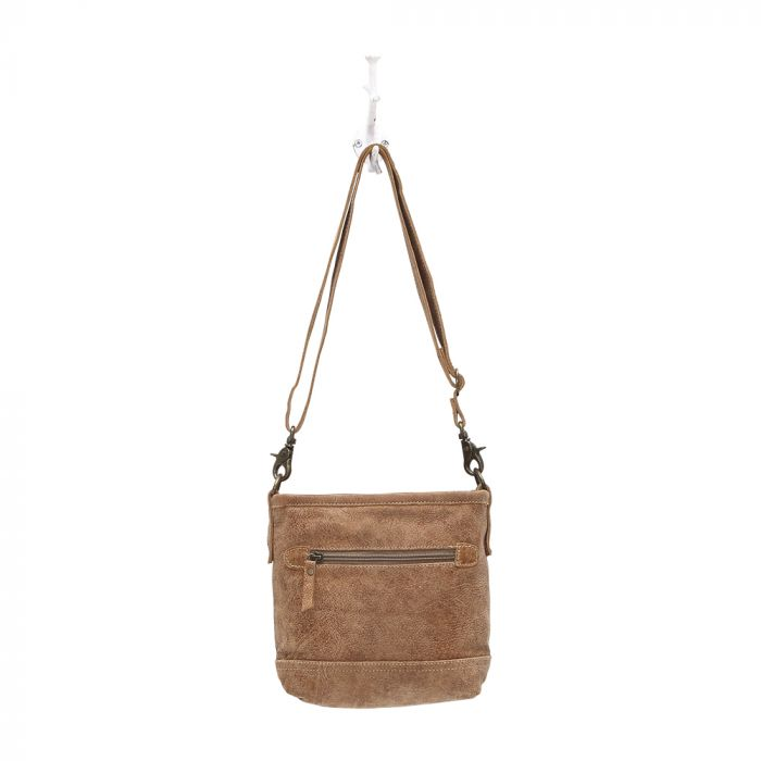 "D"" RING LEATHER CROSS BODY BAG"