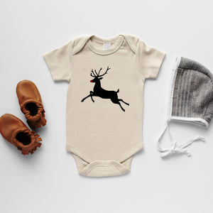 Cream Rudolph The Reindeer Organic Baby Bodysuit