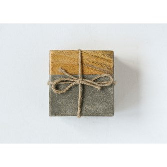 Square Cement & Wood Coasters