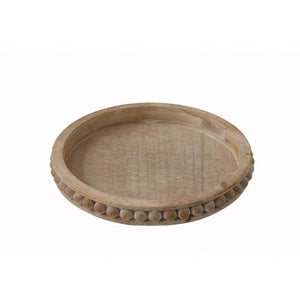 "16"" Round x 2""H Beaded Wood Tray"