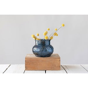Blue Glass Hobnail Vase