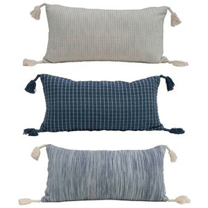 Cotton Lumbar Pillow w/Tassels
