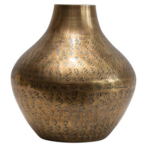 Hammered Metal Vase, Antique Brass Finish