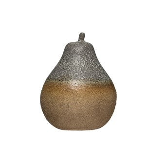 "6"" Round x 7-1/2""H Stoneware Pear, Reactive Glaze (Each One Will Vary)"