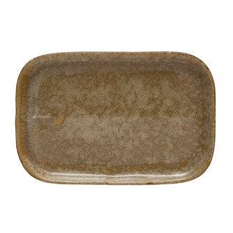 "8.5""L x 5.75""W Stoneware Plate, Reactive Glaze, Mustard Color (Each One Will Vary)"