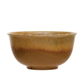 "5"" Round x 2.5""H Stoneware Bowl, Reactive Glaze, Mustard Color (Each One Will Vary)"