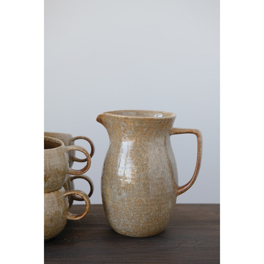 56 oz. Stoneware Pitcher, Reactive Glaze, Mustard Color (Each Varies)
