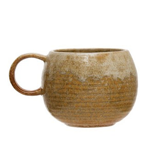 12 oz. Stoneware Mug, Reactive Glaze, Mustard Color (Each One Will Vary)