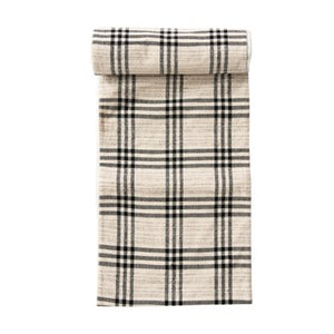 "108""L x 14""W Woven Cotton & Wool Table Runner, Black Plaid"