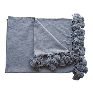 Woven Crochet Throw -Dusty Blue
