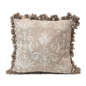 Beige Damask Pillow with Tassels