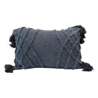 Stonewashed Blue Lumbar Pillow w/Tassels