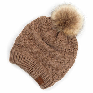 Decorative Tilted Whip Stitch Knit Slouch Pom Beanie.