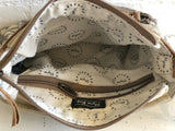 Myra hide and floral print bag