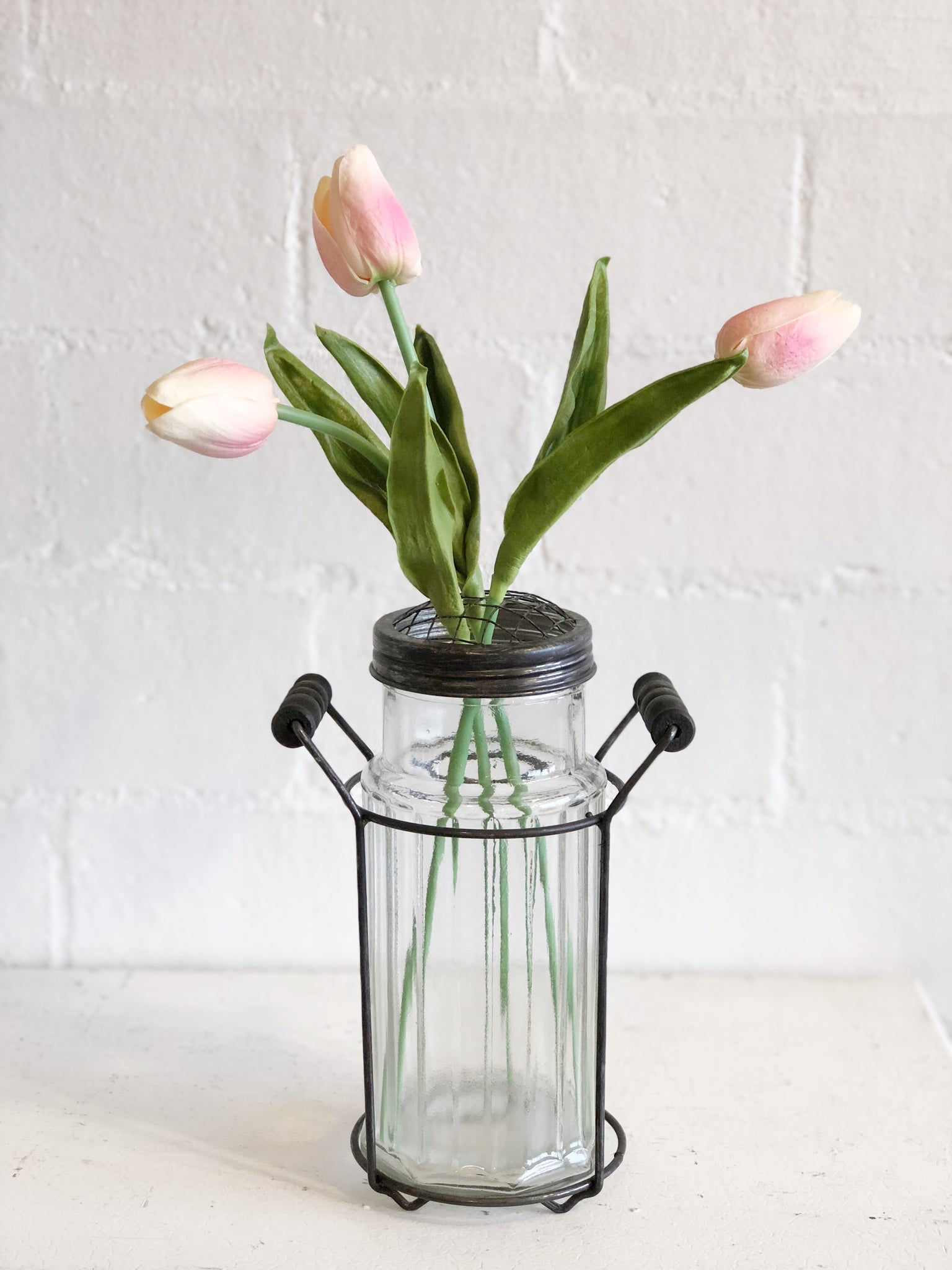 Ribbed Glass Vase with Metal Frog Lid