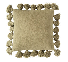 Olive Green Tassel Pillow