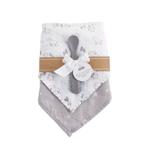 Lamb Muslin Bibs & Spoon Set