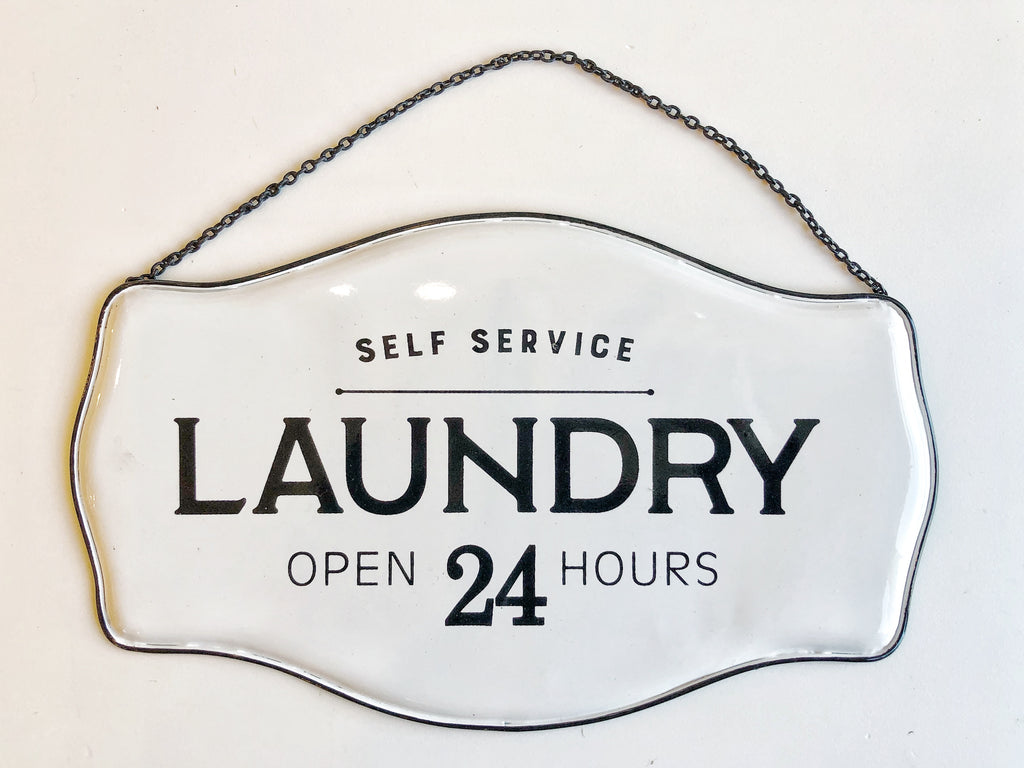 Laundry Open 24 Hours Sign