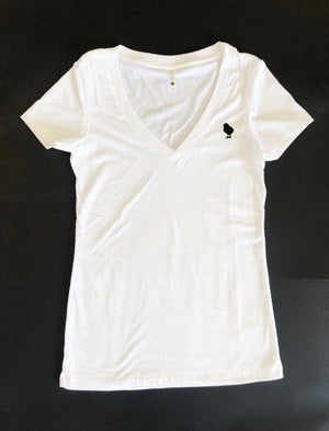 White V-Neck Chick Tee