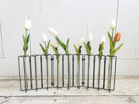 Hinged metal flower vase with 9 glass test tubes