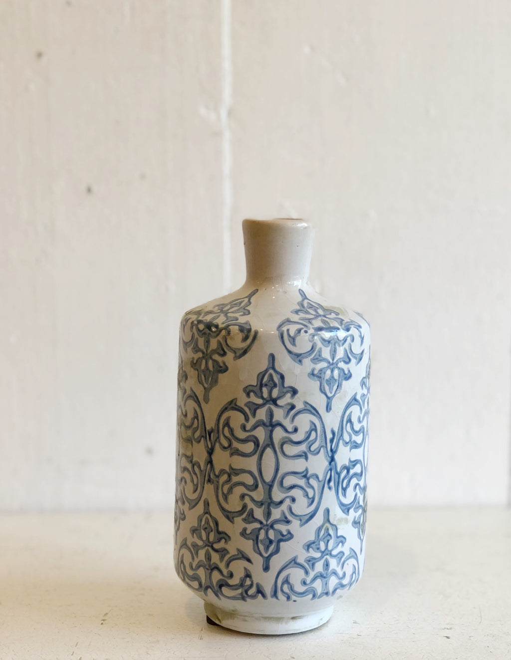 Blue and White Patterned Vase