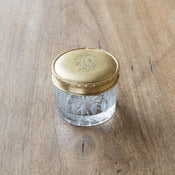 Antique Brass and Glass Cosmetic Jar