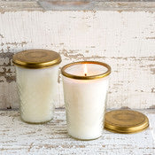 Sweet Tea Candle in Glass with Brass Lid