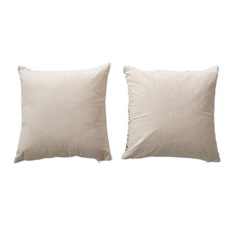 Square Cotton Pillow with Botanical Emb. & Gold Zipper
