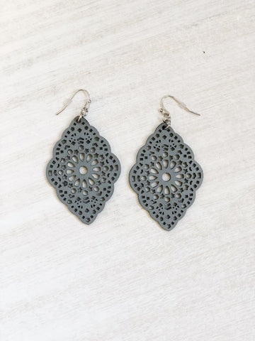Grey leather earrings