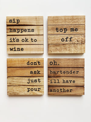 Wood Square Coaster set of 4