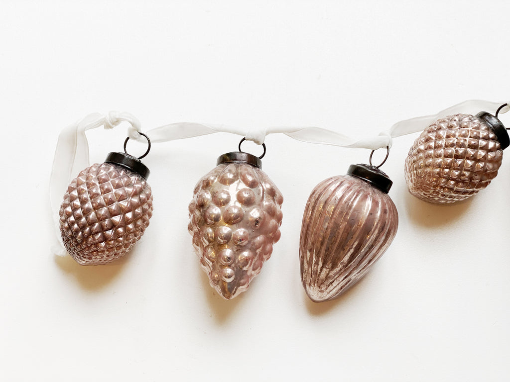 Pink Mercury Glass Ornament Garland