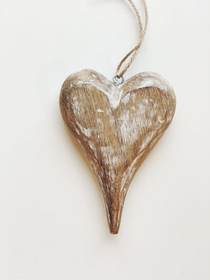 Whitewashed Wooden Heart Ornament