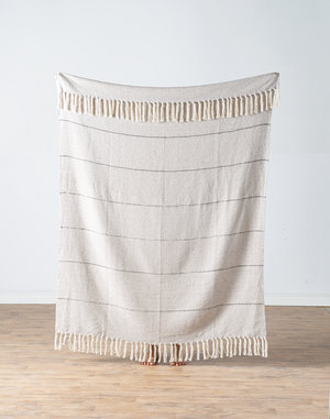 Natural with black stripe throw blanket