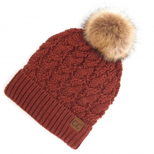 Twisted Knit Pom Beanie Featuring Faux Fur Inside Lining