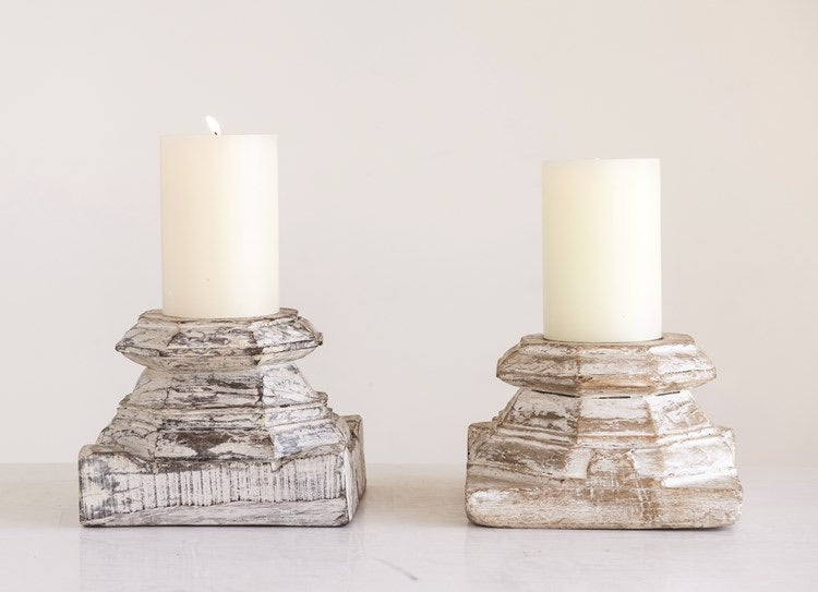 "Wood Column Candle Holder, Distressed White (Holds 6"" Pillar)"