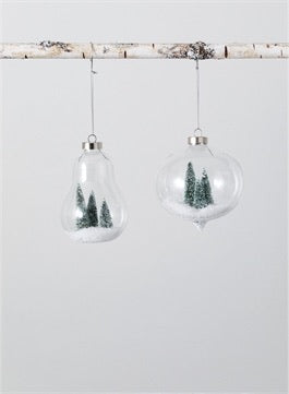 Glass Ornament with snow and trees