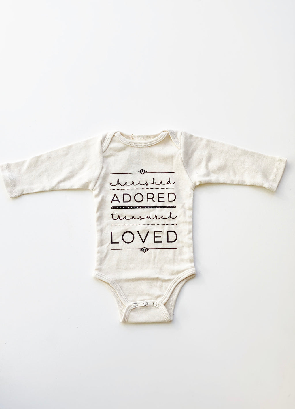 Cream Cherished, Adored, Treasured, Loved Organic Bodysuit 0-3M