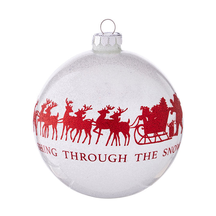 "5"" DASHING THROUGH THE SNOW BALL ORNAMENT"